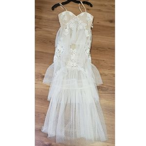 Nude Lace Boho Dress Wedding Size Small
